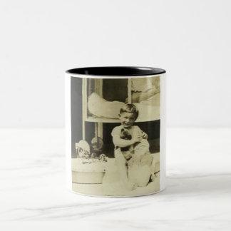 Boy holding teddy bear Two-Tone coffee mug