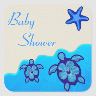Boy Honu Baby Shower Square Sticker