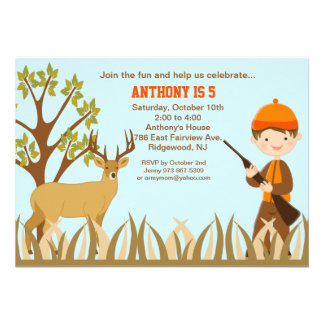 Boy Hunting In the Woods Birthday Invitation
