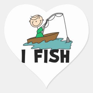Boy I Fish Heart Sticker