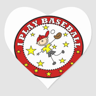 Boy I Play Baseball T-shirts and Gifts Heart Sticker
