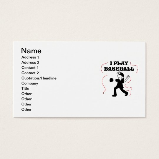 Boy  I Play Baseball Tshirts and Gifts Business Card