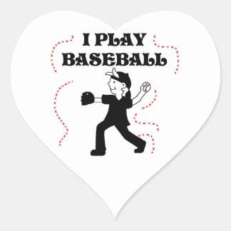 Boy  I Play Baseball Tshirts and Gifts Heart Sticker