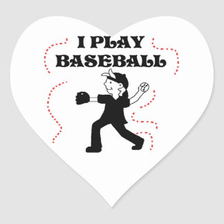 Boy  I Play Baseball Tshirts and Gifts Heart Stickers