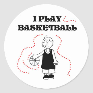 Boy I Play Basketball Classic Round Sticker