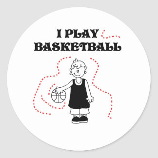 Boy I Play Basketball Round Stickers