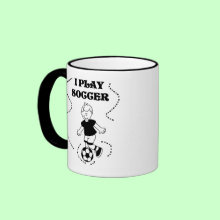 I Play Soccer Mug - A black line drawing of a boy soccer player and black text that reads 'I Play Soccer'