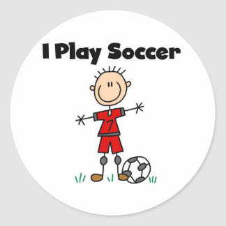 Boy I Play Soccer Classic Round Sticker