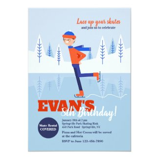 Boy Ice Skater Invitation