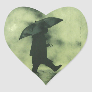 Boy in a rainy day heart sticker