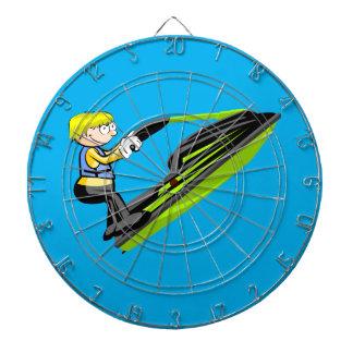 Boy in aquatic motorcycle dartboard