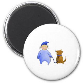 Boy in Blue with Dog 2 Inch Round Magnet