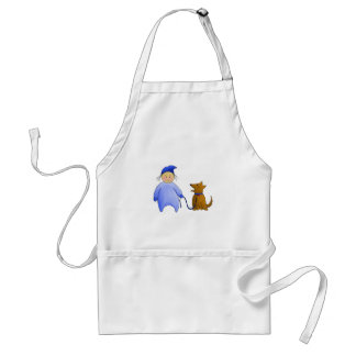 Boy in Blue with Dog Adult Apron
