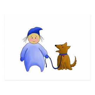 Boy in Blue with Dog Postcard