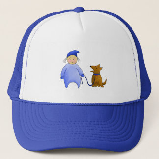 Boy in Blue with Dog Trucker Hat