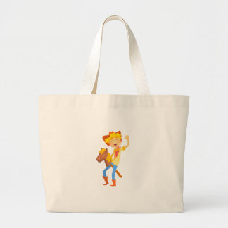 Boy In Cowboy Costume Riding Toy Horse Head On A S Large Tote Bag