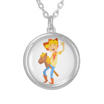 Boy In Cowboy Costume Riding Toy Horse Head On A S Silver Plated Necklace