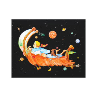 BOY IN FLYING BED CANVAS PRINT