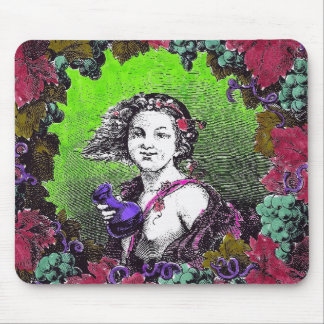 Boy in grape wreath, green grapes and purple mousepad