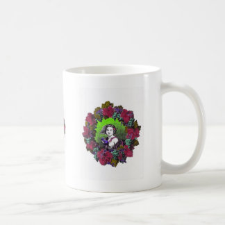 Boy in grape wreath, green grapes and purple classic white coffee mug