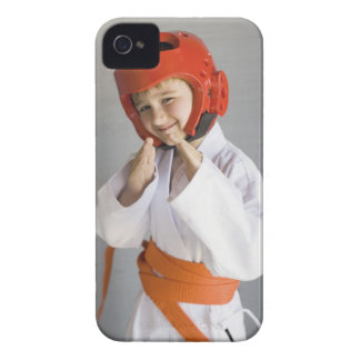 Boy in karate uniform wearing sparring headgear Case-Mate iPhone 4 case