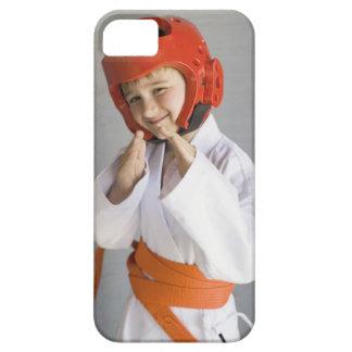Boy in karate uniform wearing sparring headgear iPhone SE/5/5s case