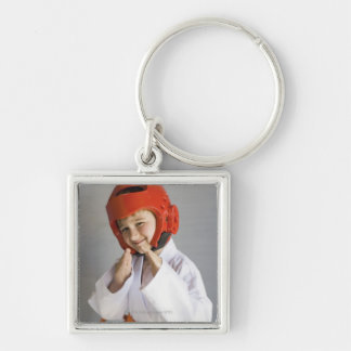 Boy in karate uniform wearing sparring headgear Silver-Colored square keychain