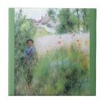 Boy in Meadow - Sommerbilder Ceramic Tile
