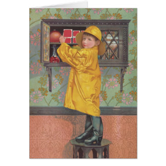 Boy in Raincoat Card