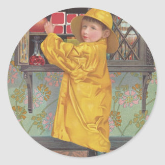 Boy in Raincoat Classic Round Sticker