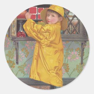 Boy in Raincoat Classic Round Sticker