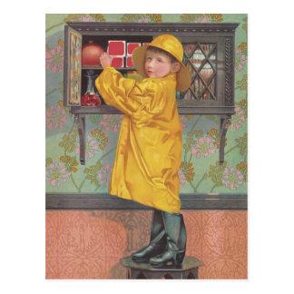 Boy in Raincoat Postcard