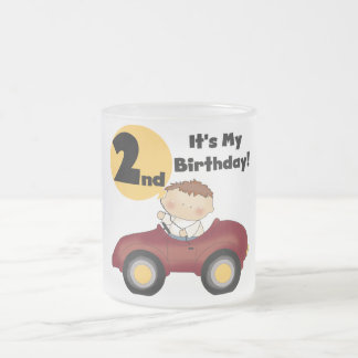 Boy in Red Car 2nd Birthday Tshirts and Gifts 10 Oz Frosted Glass Coffee Mug