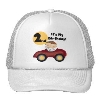 Boy in Red Car 2nd Birthday Tshirts and Gifts Trucker Hat