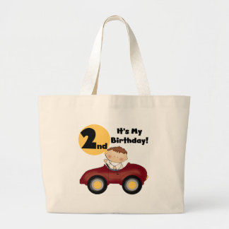 Boy in Red Car 2nd Birthday Tshirts and Gifts Large Tote Bag