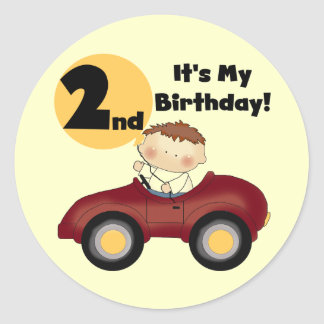 Boy in Red Car 2nd Birthday Tshirts and Gifts Round Stickers