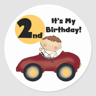 Boy in Red Car 2nd Birthday Tshirts and Gifts Classic Round Sticker