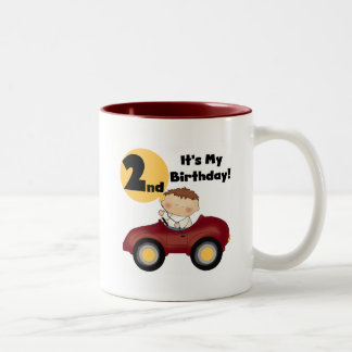 Boy in Red Car 2nd Birthday Tshirts and Gifts Two-Tone Coffee Mug