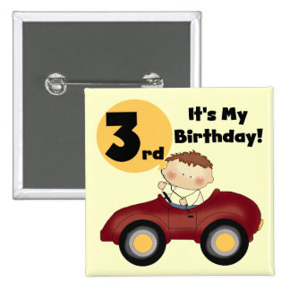 Boy in Red Car 3rd Birthday T-shirts and Gifts 2 Inch Square Button