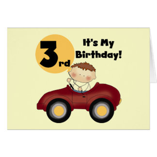 Boy in Red Car 3rd Birthday T-shirts and Gifts Greeting Card