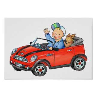 Boy in Red Toy Car - Poster