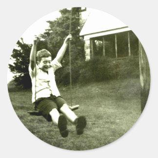 Boy In Swing Classic Round Sticker