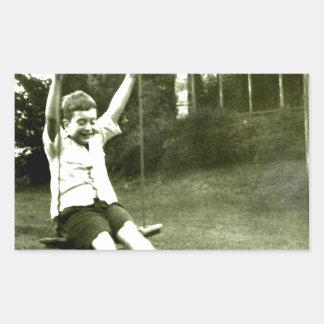Boy In Swing Rectangular Sticker