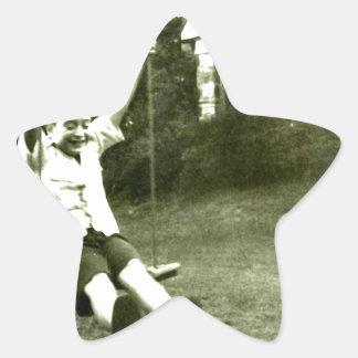 Boy In Swing Star Sticker