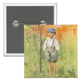 Boy in the Grass Pinback Buttons