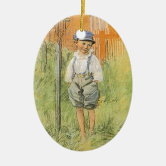 Boy in the Grass Double-Sided Oval Ceramic Christmas Ornament