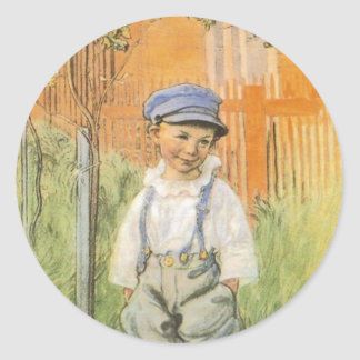 Boy in the Grass Round Sticker