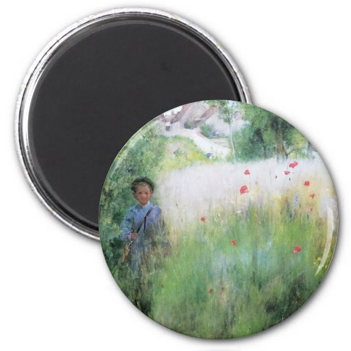 Boy in the Meadow 2 Inch Round Magnet
