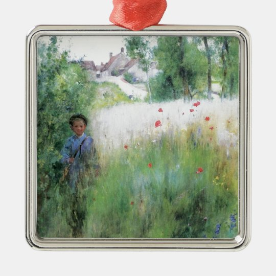 Boy in the Meadow Metal Ornament