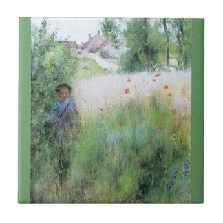 Boy in the Meadow Tile